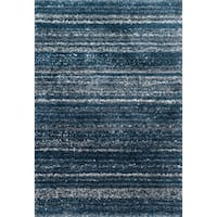 Contemporary Navy Blue Abstract Shag Rug - 7'10 x 10'10