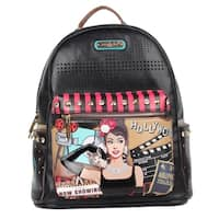 Hollywood Star Print Backpack with Laptop Compartment