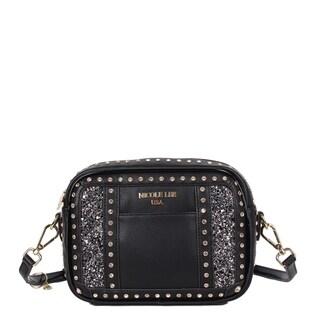 Adair Black dual rhinestone glitter Crossbody Bag