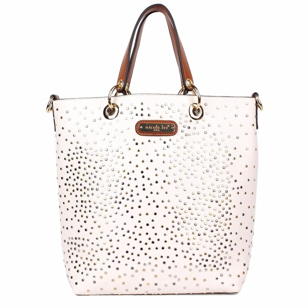 Shop Zena White Studded Tote Bag with removable pouch - Free Shipping Today  - Overstock.com - 20719795 9bf1f41d4b458