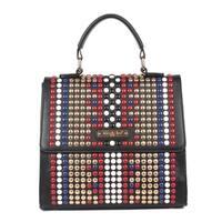 Fenn Black Studded Design Messenger Bag
