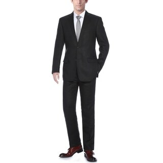 Verno Men's Black Linen Classic Fit Suit