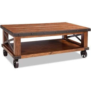 Taos Canyon Brown Rustic Coffee Table with Caster