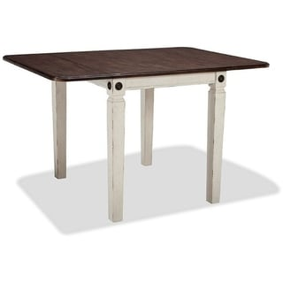 Link to Glennwood Rubbed White and Charcoal Drop Leaf Dining Table Similar Items in Dining Room & Bar Furniture