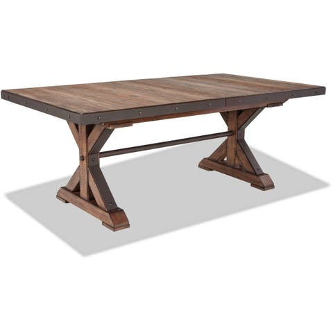 Taos Canyon Brown Trestle Table with Storing Leaf
