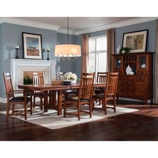 Oak Park Mission Trestle Table with 2-leaf Extension - Brown