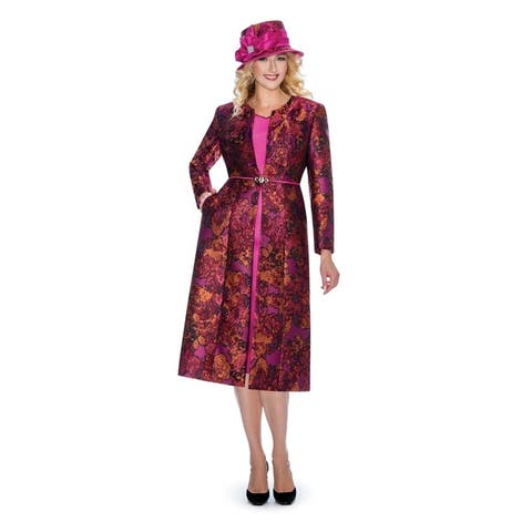 Giovanna Collection Women's Art of Brocade 2-piece Long Coat with Dress Set