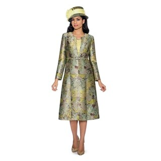 Giovanna Collection Women's Art of Brocade 2-piece Long Coat with Dress Set (More options available)