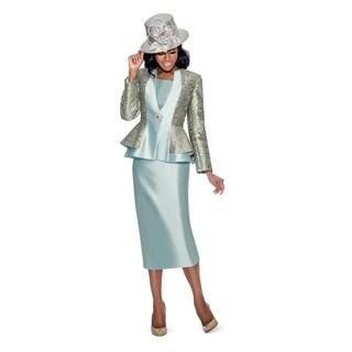 Giovanna Collection Women's Luxury Brocade & Silk Wool Combo 3-piece Skirt Suit