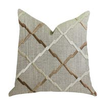 Plutus Urban Square Brown and Beige Luxury Throw Pillow