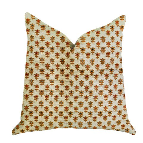 Plutus Rosy Posse Orange and Tan Floral Luxury Decorative Throw Pillow
