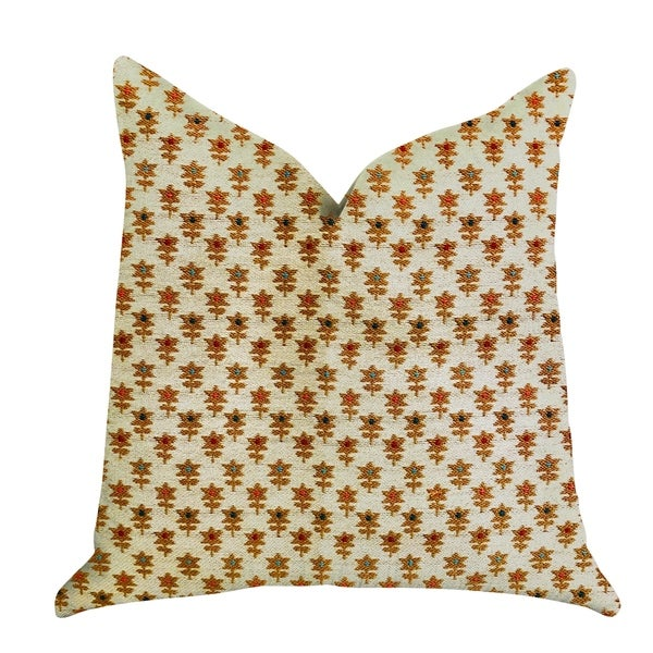Plutus Rosy Posse Orange and Tan Floral Luxury Decorative Throw Pillow. Opens flyout.