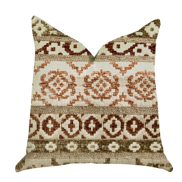 Plutus Arabesque Shades of Brown Luxury Decorative Throw Pillow