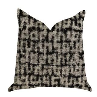 Plutus Modish Millie Luxury Decorative Throw Pillow in Black and Beige Tones