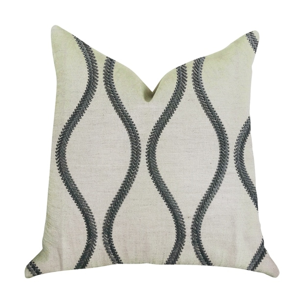 Plutus Bella Curve Green and Beige Luxury Decorative Throw Pillow