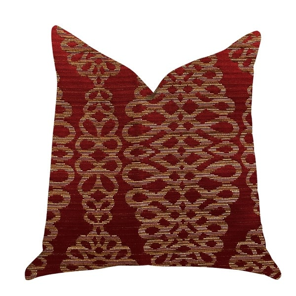 Plutus Sweet Henna Luxury Decorative Throw Pillow in Red and Gold