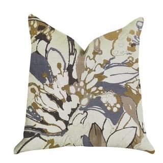Plutus Camellia Floral Blue, Beige Tones Luxury Decorative Throw Pillow