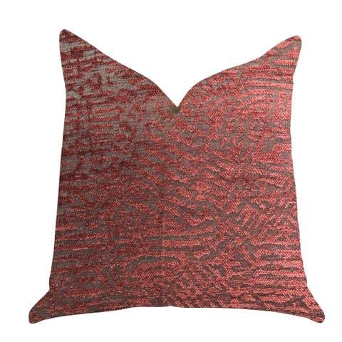 Plutus Crushed Wine Luxury Decorative Throw Pillow in Dark Red