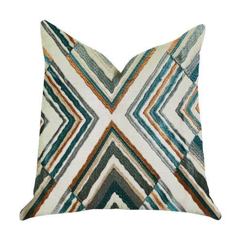 Plutus Crescent Peak Multi Green Luxury Decorative Throw Pillow