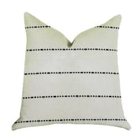 Plutus Interweave Vanilla Bean Luxury Throw Pillow in Black and White