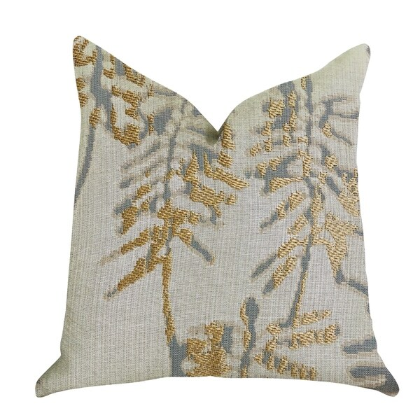 Plutus Creekside Beauty Luxury Decorative Throw Pillow in Green and Gold Tones