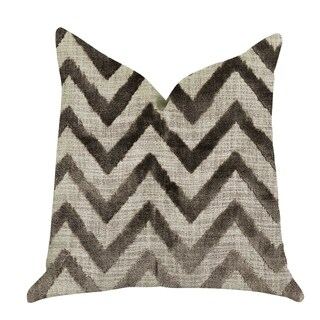 Plutus Oblique Zigzag Luxury Throw Pillow in Beige Tones