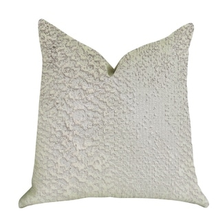 Plutus Mystical Iceberg Decorative Throw Pillow in White and Silver Tones