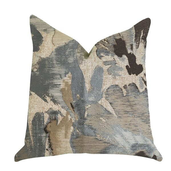 Plutus Icy Blue Wildflower Luxury Decorative Throw Pillow