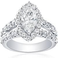 Bliss 14k White Gold 2 1/2ct TDW Marquise Diamond Halo Split Shanke Engagement Ring Clarity Enhanced