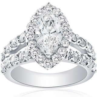 Bliss 14k White Gold 2 1/2ct TDW Marquise Diamond Halo Split Shanke Engagement Ring Clarity Enhanced