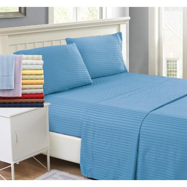 4 Piece Hotel Luxury Stripe Deep Pocket Bed Sheets Set
