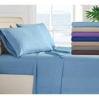 4 Piece Hotel Luxury Stripe Deep Pocket Bed Sheets Set