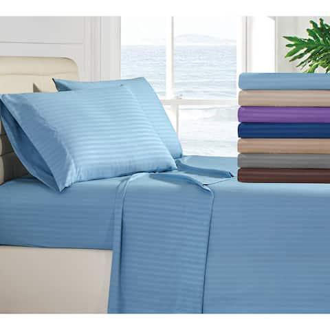 Porch & Den Stripe Bed Sheet Pattern 1800TC Deep Pocket Bed Sheet Set