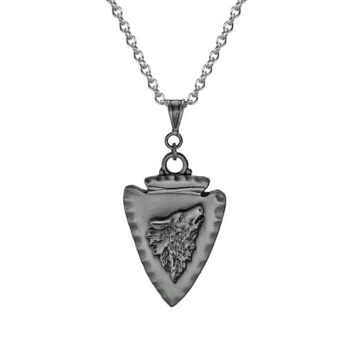 Handmade Jewelry by Dawn Unisex Pewter Arrowhead Wolf Stainless Steel Chain Necklace (USA)
