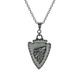 Jewelry by Dawn Unisex Pewter Arrowhead Wolf Stainless Steel Chain Necklace