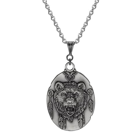 Handmade Jewelry by Dawn Unisex Pewter Bear Head Stainless Steel Chain Necklace (USA)