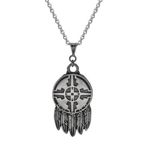 Handmade Jewelry by Dawn Unisex Native American Design Feathers Stainless Steel Chain Necklace (USA)