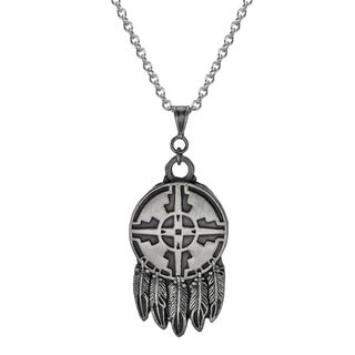 Jewelry by Dawn Unisex Native American Design Feathers Stainless Steel Chain Necklace