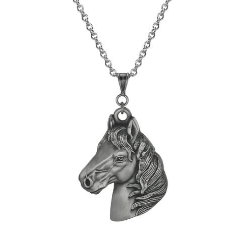Handmade Jewelry by Dawn Unisex Pewter Large Horse Head Stainless Steel Chain Necklace (USA)