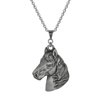 Jewelry by Dawn Unisex Pewter Large Horse Head Stainless Steel Chain Necklace