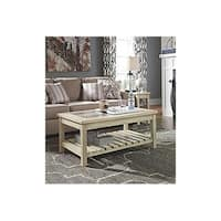 Signature Design by Ashley, Veldar Contemporary Whitewash Coffee Table