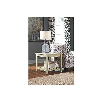 signature design by ashley veldar contemporary whitewash end table free shipping today overstockcom 26553123 - White Wash End Tables