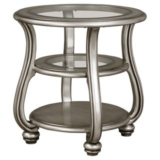 Signature Design by Ashley Coralayne Traditional Silver Wood Glass End Table