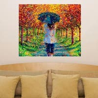 """Fall Girl Rain Full Color Wall Decal Sticker AN-337 FRST Size40""""x40"""""""