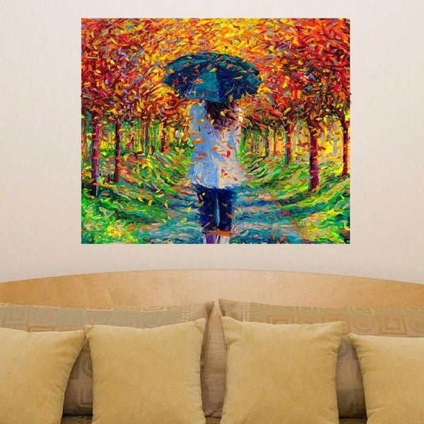 "Fall Girl Rain Full Color Wall Decal Sticker AN-337 FRST Size52""x52"""