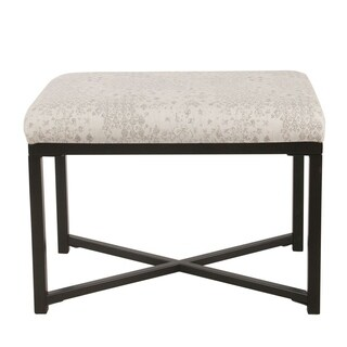 HomePop Rectangle Ottoman with Metal Base - Gray and Cream Vintage Stencil