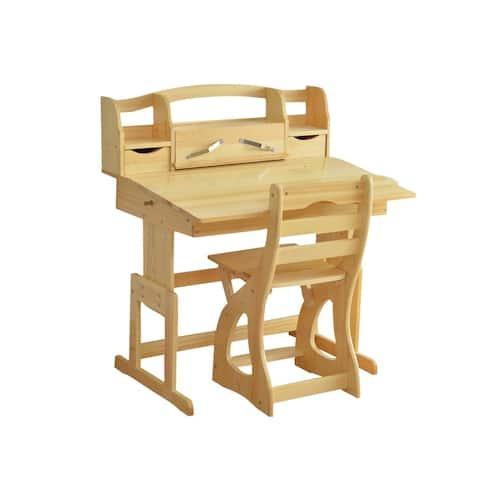 TGEG Kid Writing Desk Child Study Table New Zealand Pine Wood