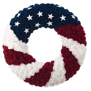 Styro Silk Rose Americana Wreath