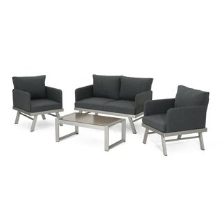 Merritt Outdoor 4-Seater Aluminum Chat Set by Christopher Knight Home