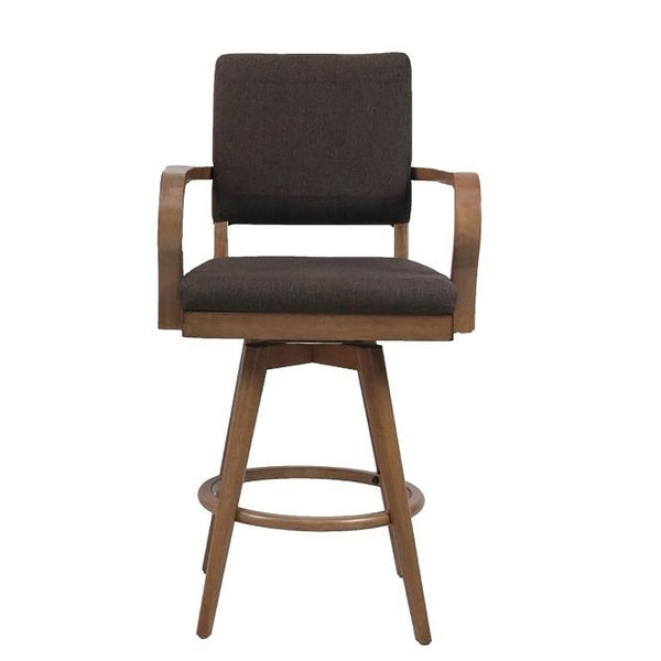Mid Modern Padded Back Pair Of Counter Stools With Arms Walnut Free Shipping Today 20727356